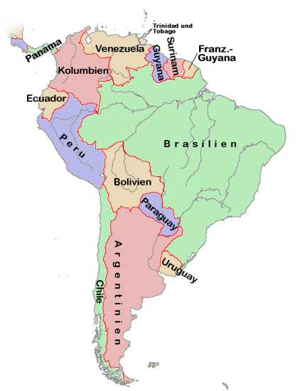Map of South America (Political Map, German, small) : Worldofmaps ...