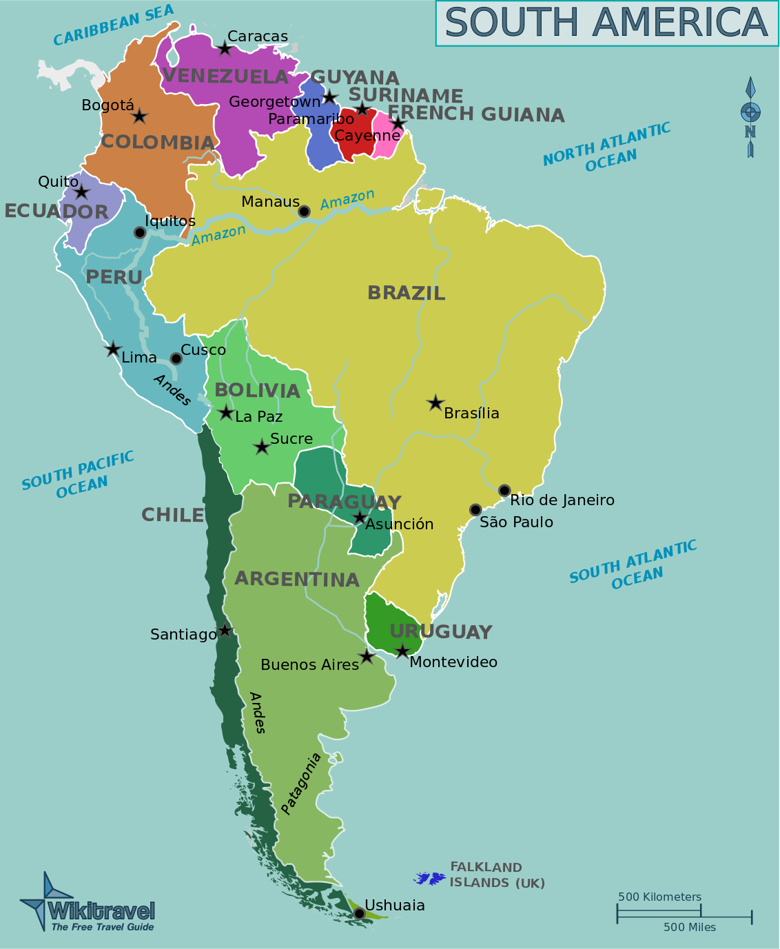 Map of South America (Political Map, English, large ...