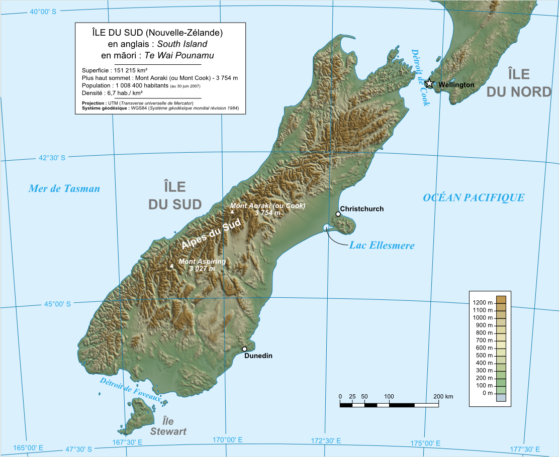Karte Island.Map New Zealand Topographic Map South Island Worldofmaps Net