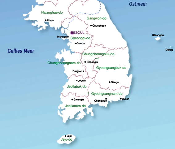 Map Of South Korea Provinces Worldofmaps Net Online Maps And