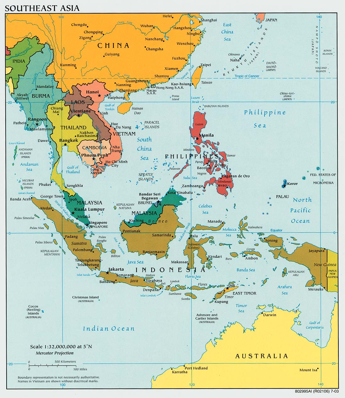 Map of South East Asia (Political Map) : Worldofmaps.net - online ...