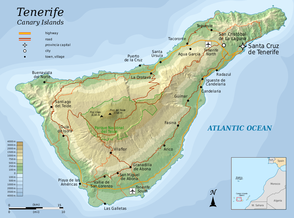 Map of Tenerife (Relief Map) : Worldofmaps.net - online Maps and ...