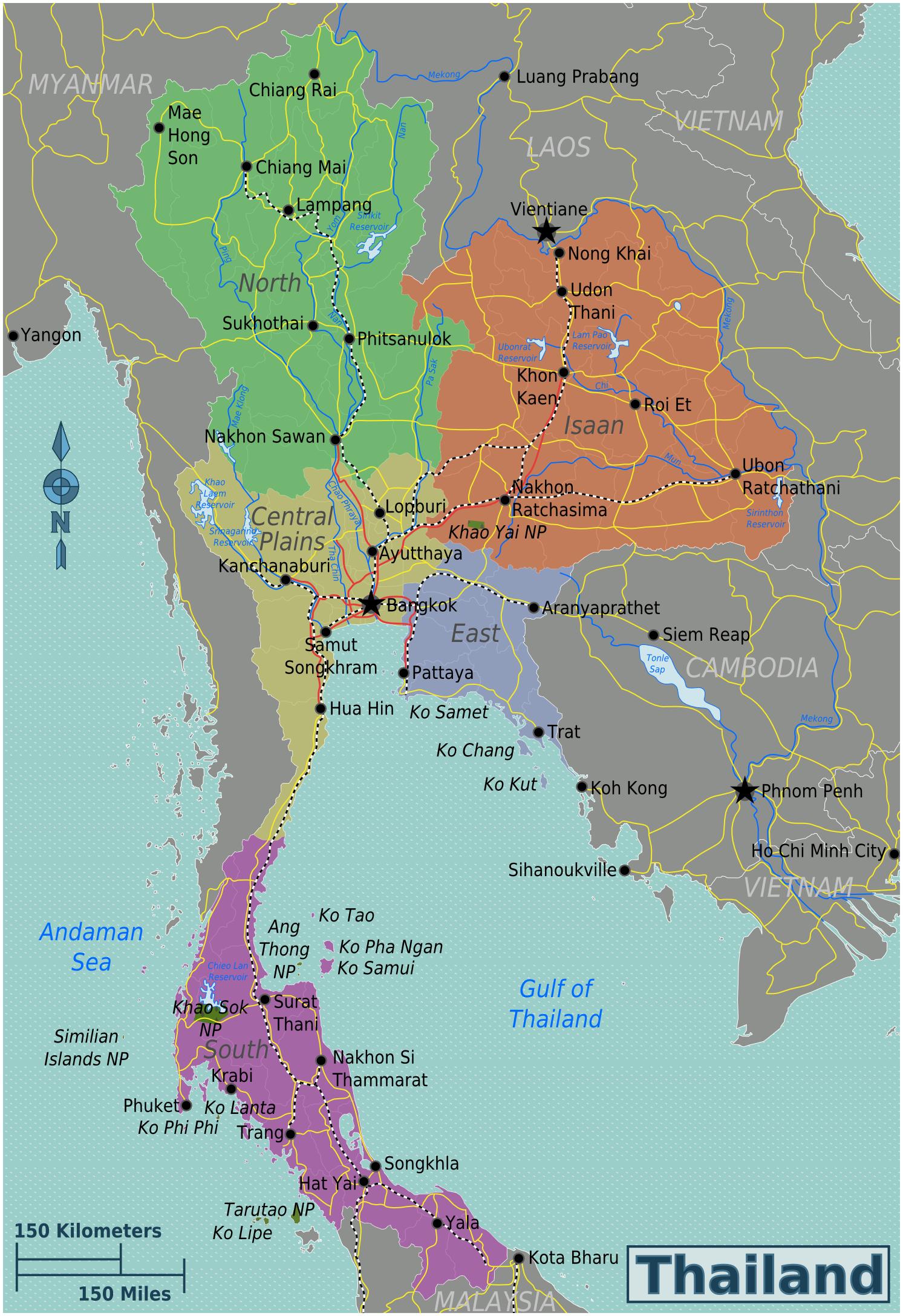 Map Of Thailand Regions Worldofmaps Net Online Maps And