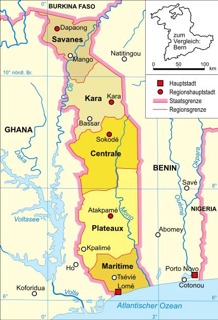 Togo Map on