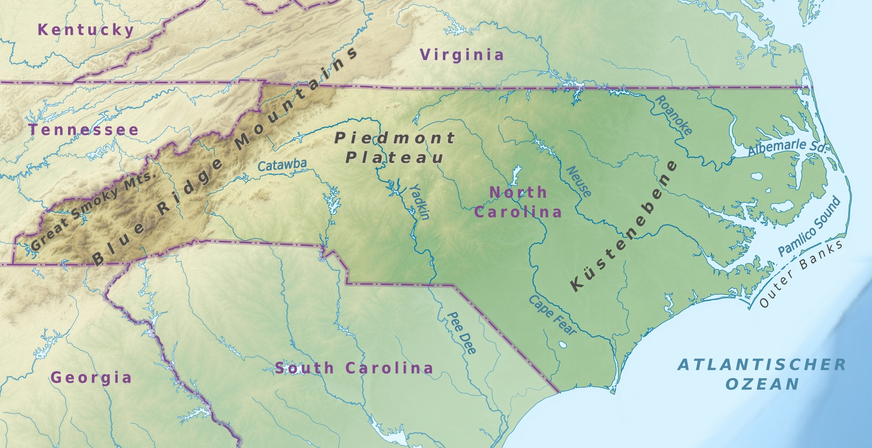 Map of North Carolina (Topographic Map, German) : Weltkarte.com ...