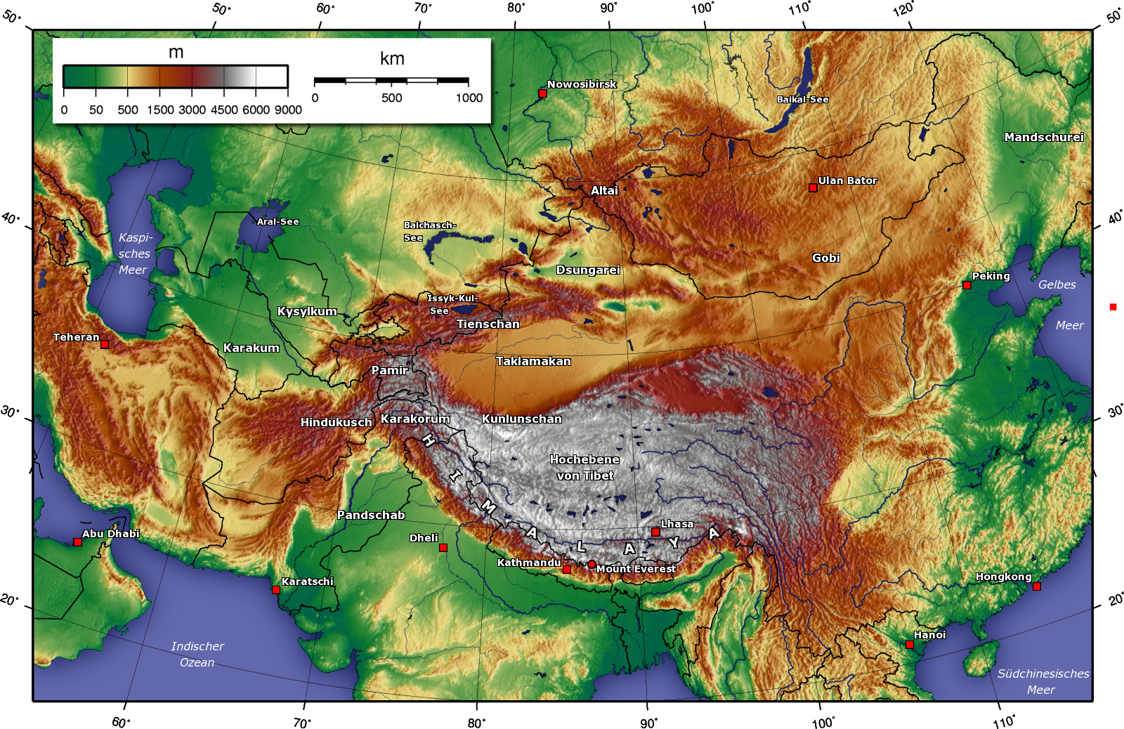 Map of Central Asia (Topographic Map) : Worldofmaps.net - online ...