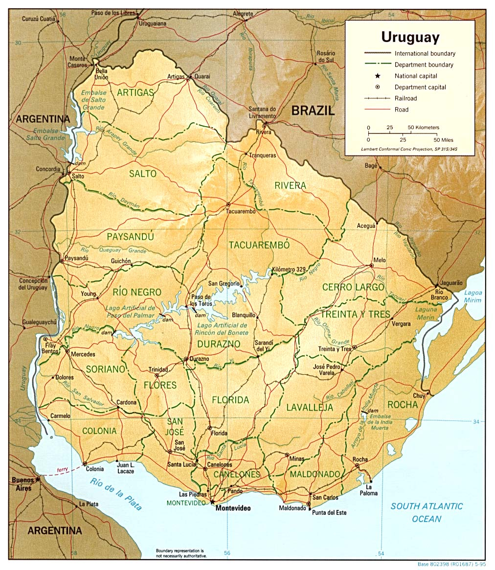 Map Of Uruguay Relief Map Worldofmaps Net Online Maps And