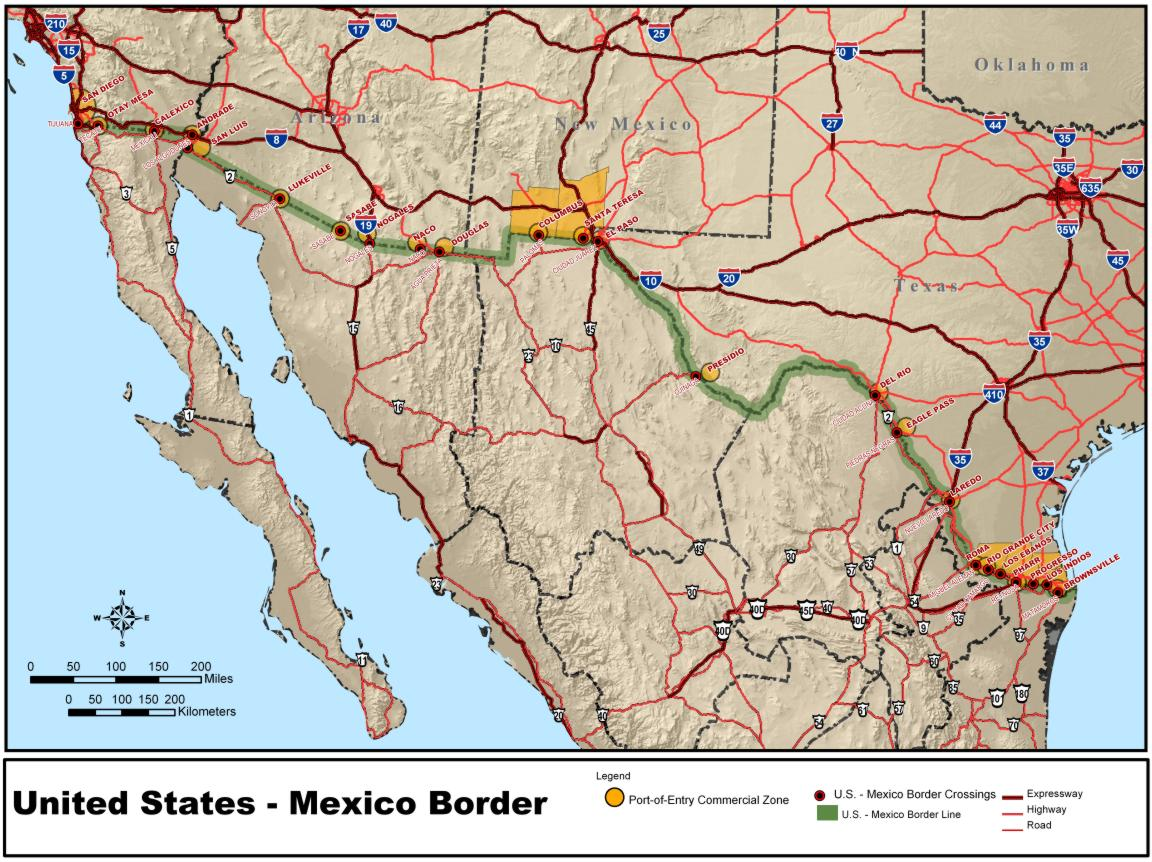 Map of Mexico (Border between USA and Mexico) : Worldofmaps ...