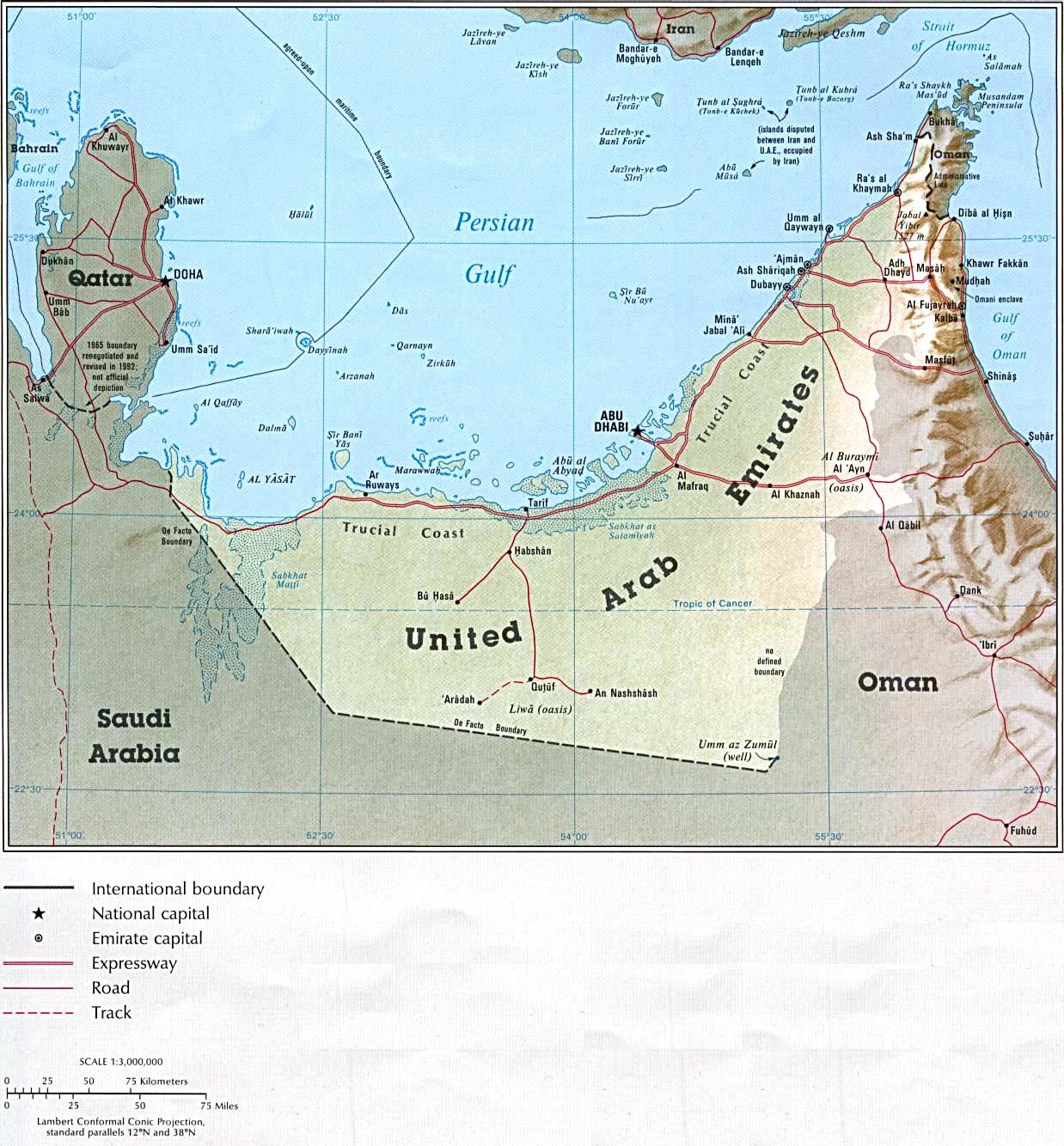 Map of United Arab Emirates (Relief Map) : Weltkarte.com ...