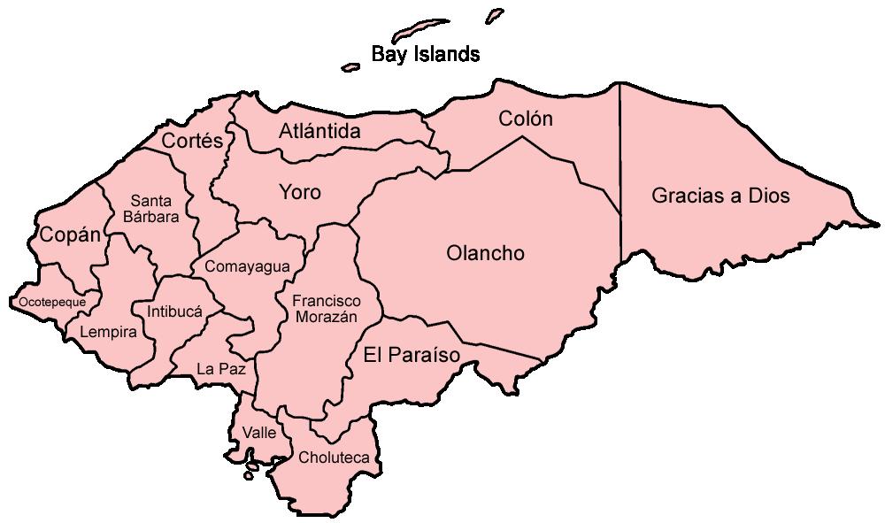 Map of Honduras (Administrative Divisions) : Worldofmaps.net ...