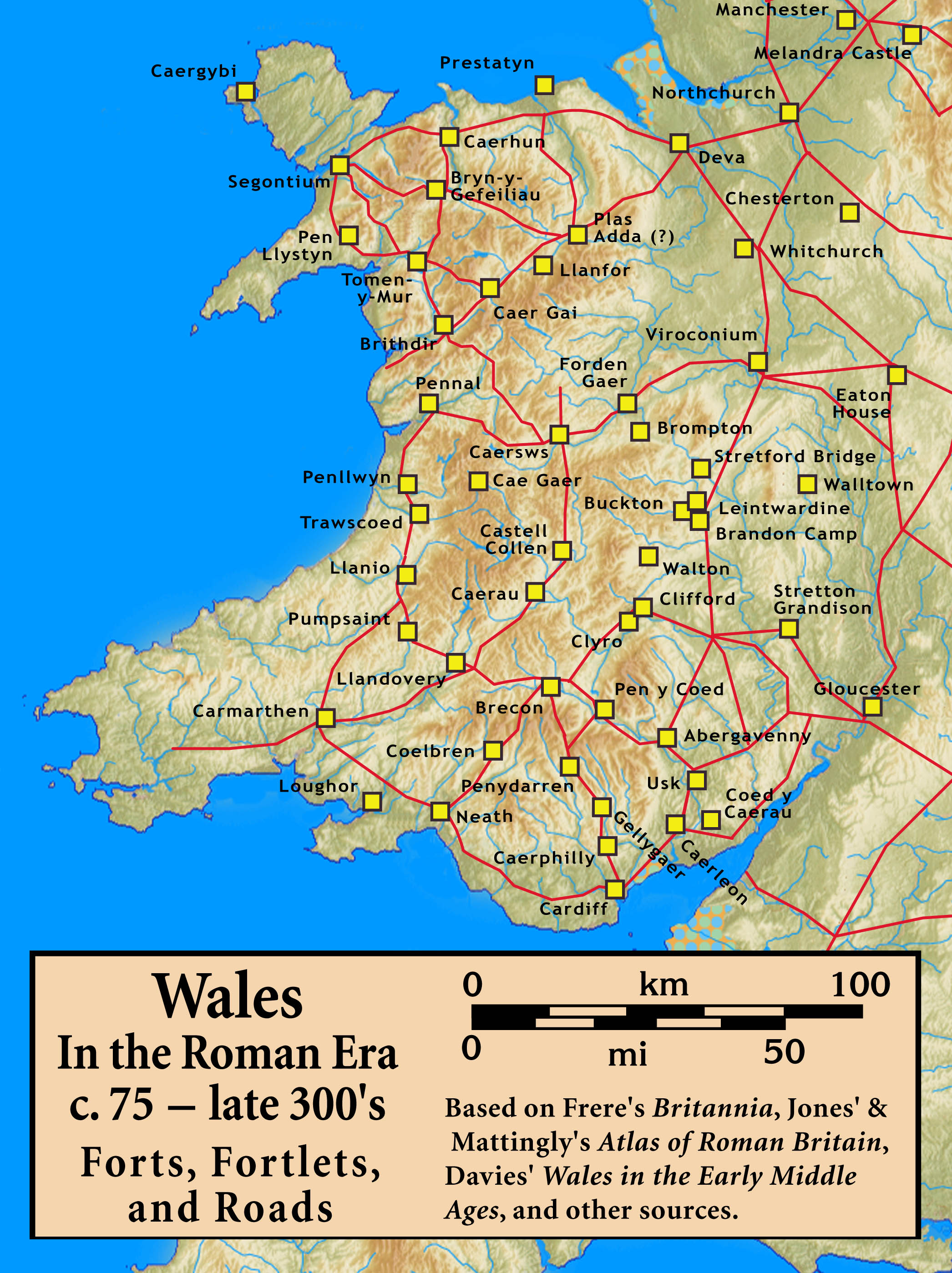 Map Of Wales Wales In The Roman Era Worldofmaps Net Online