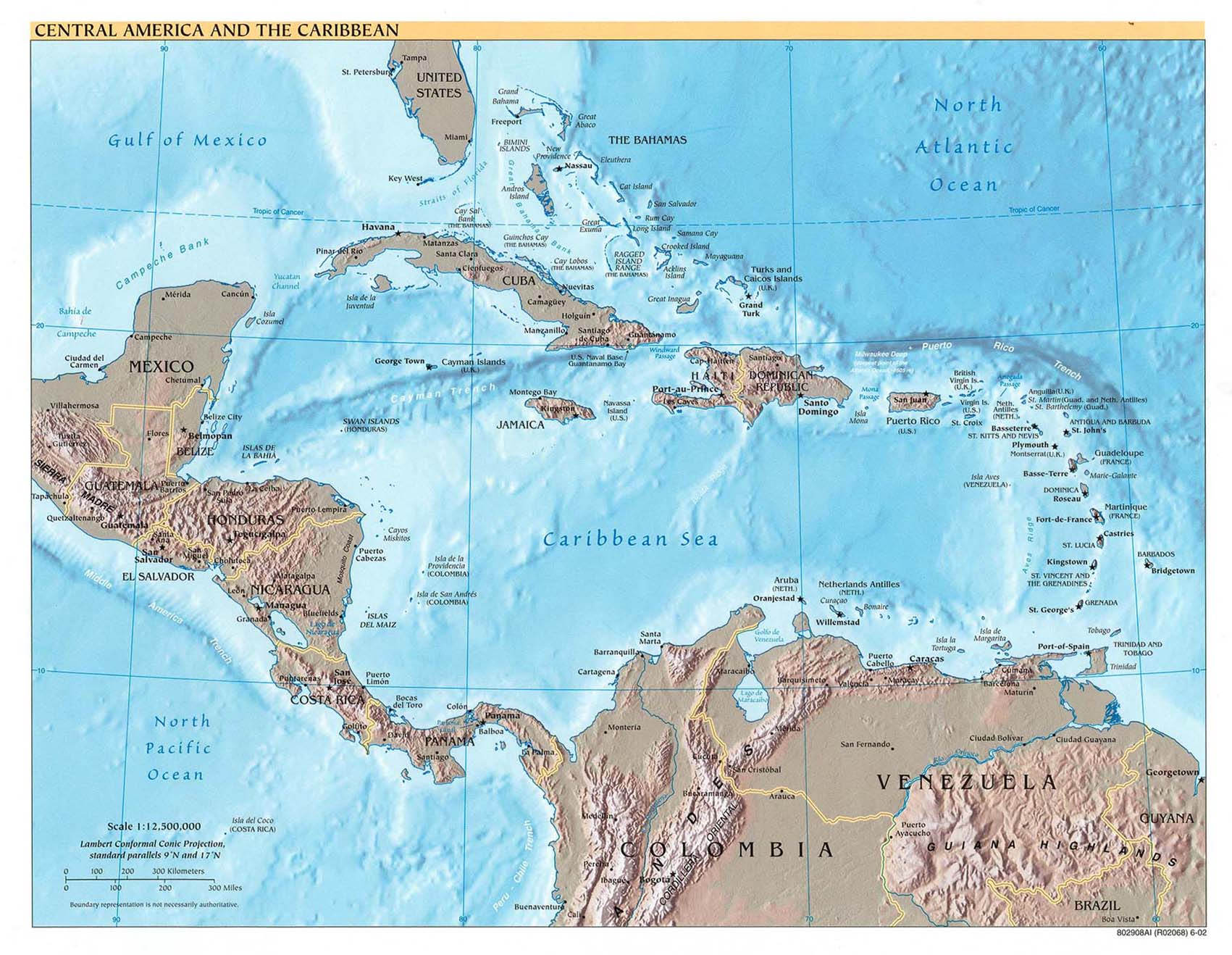 Map of Central America and Caribbean (Relief Map) : Worldofmaps.net ...