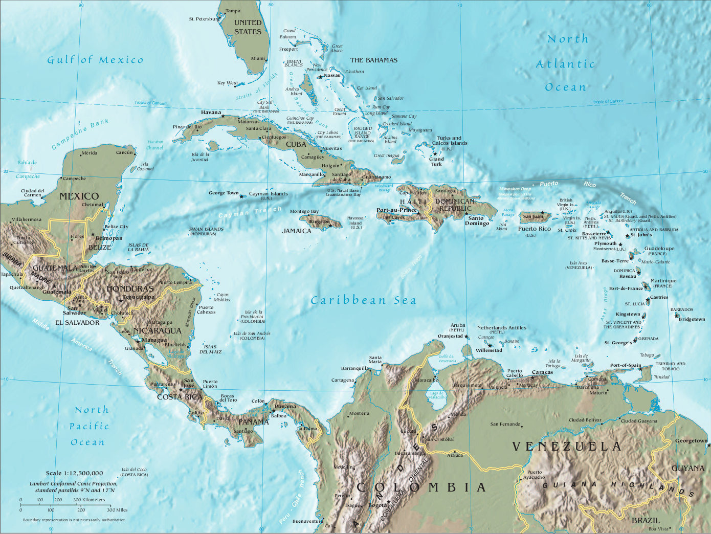 Map of the Caribbean & Central America (Relief Map) : Worldofmaps ...