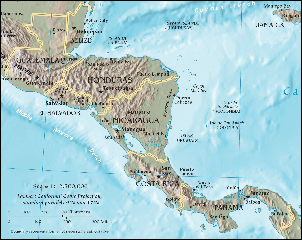 Map of Central America (Relief Map) : Worldofmaps.net - online Maps ...