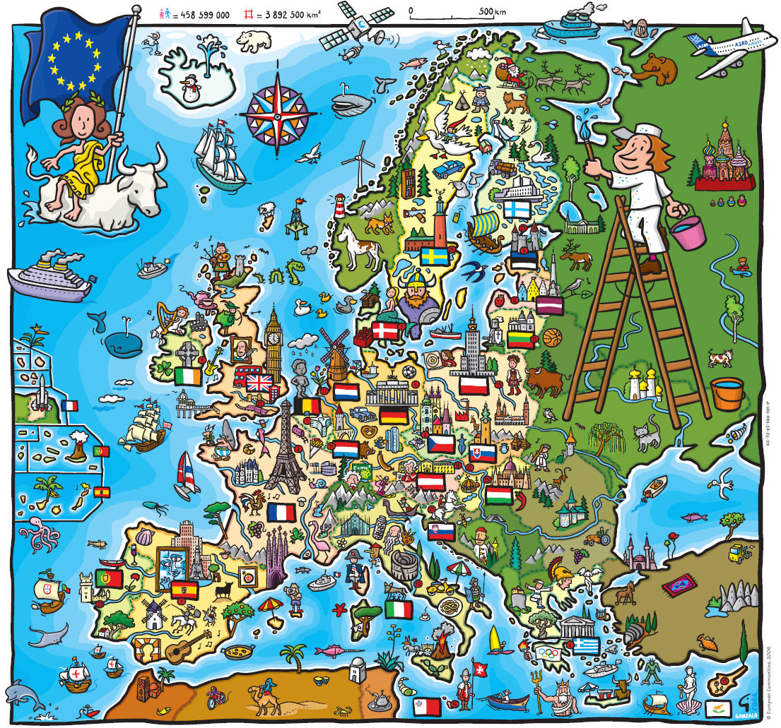 Map Of Europe Map For Children Worldofmapsnet Online Maps - Map of europe for children