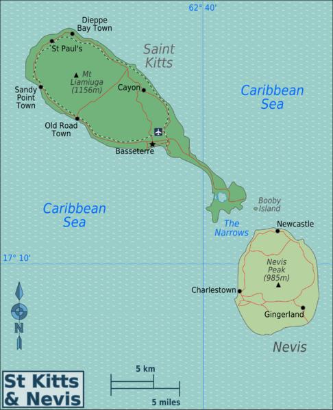 Map of Saint Kitts and Nevis (Regions) : Weltkarte.com - Karten und ...