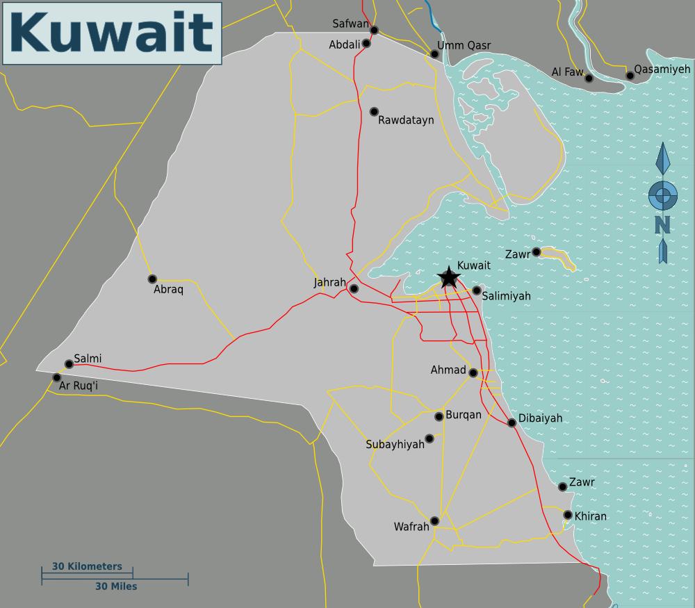 Map of Kuwait (Overview Map) : Weltkarte.com - Karten und Stadtpläne ...