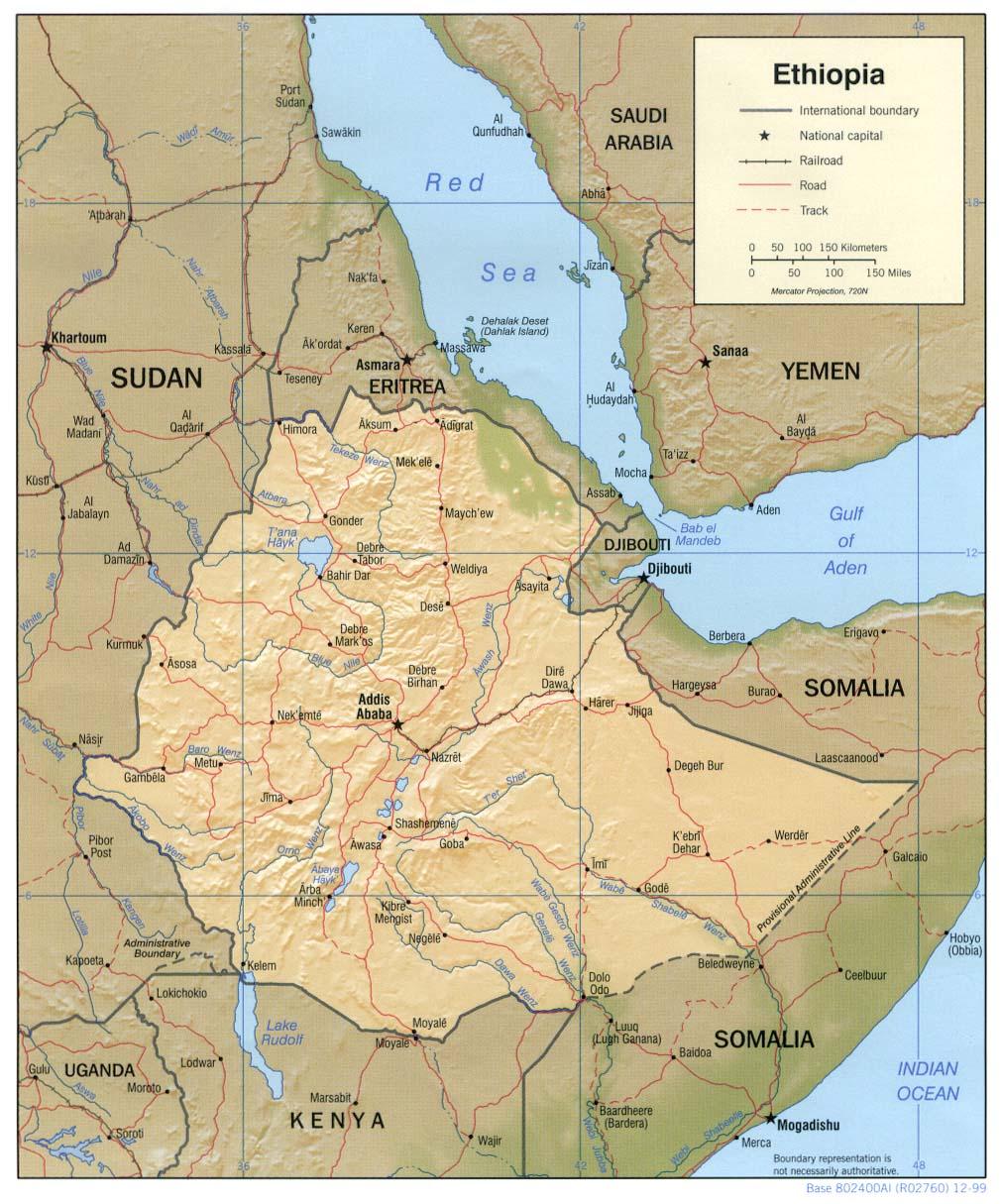 Map of Ethiopia (Relief Map) : Worldofmaps.net - online Maps ...