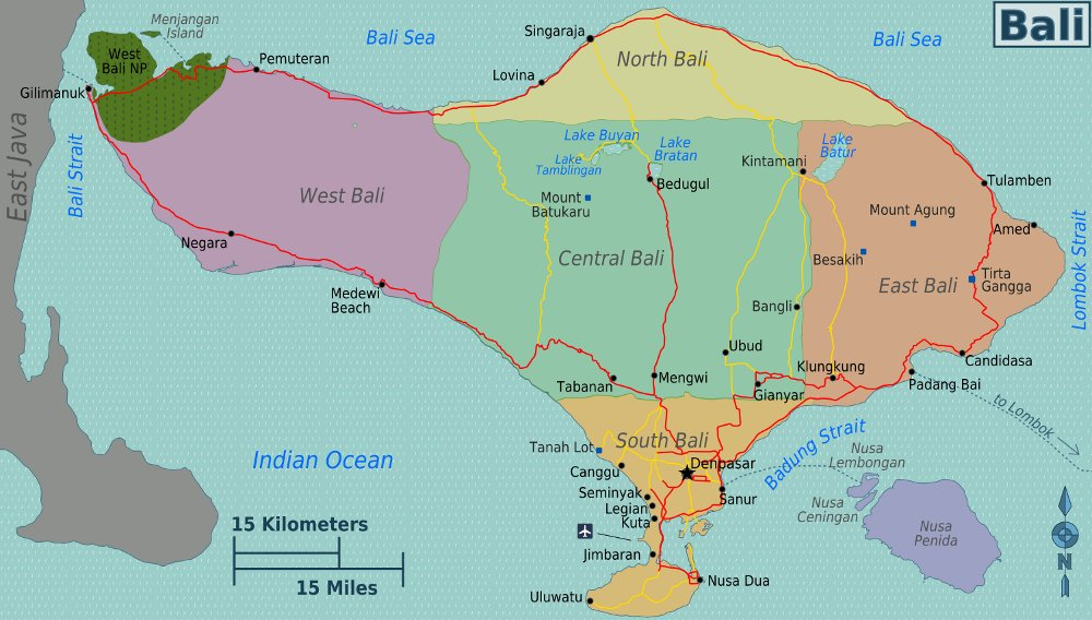 Map of Bali (Map Regions) : Worldofmaps.net - online Maps and Travel ...
