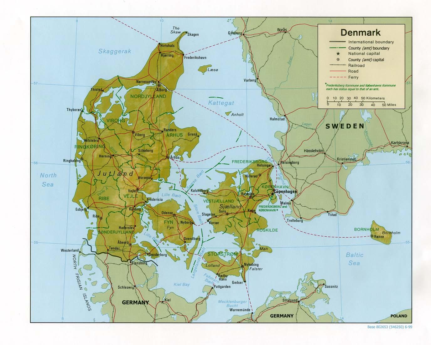 Map of Denmark (Relief Map) : Weltkarte.com - Karten und Stadtpläne ...