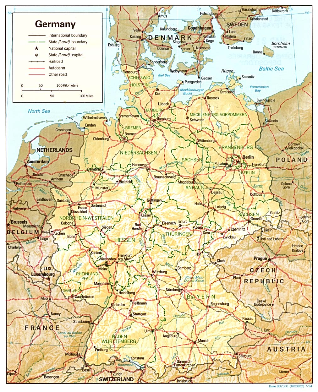 Map of Germany (Relief Map) : Weltkarte.com - Karten und Stadtpläne ...