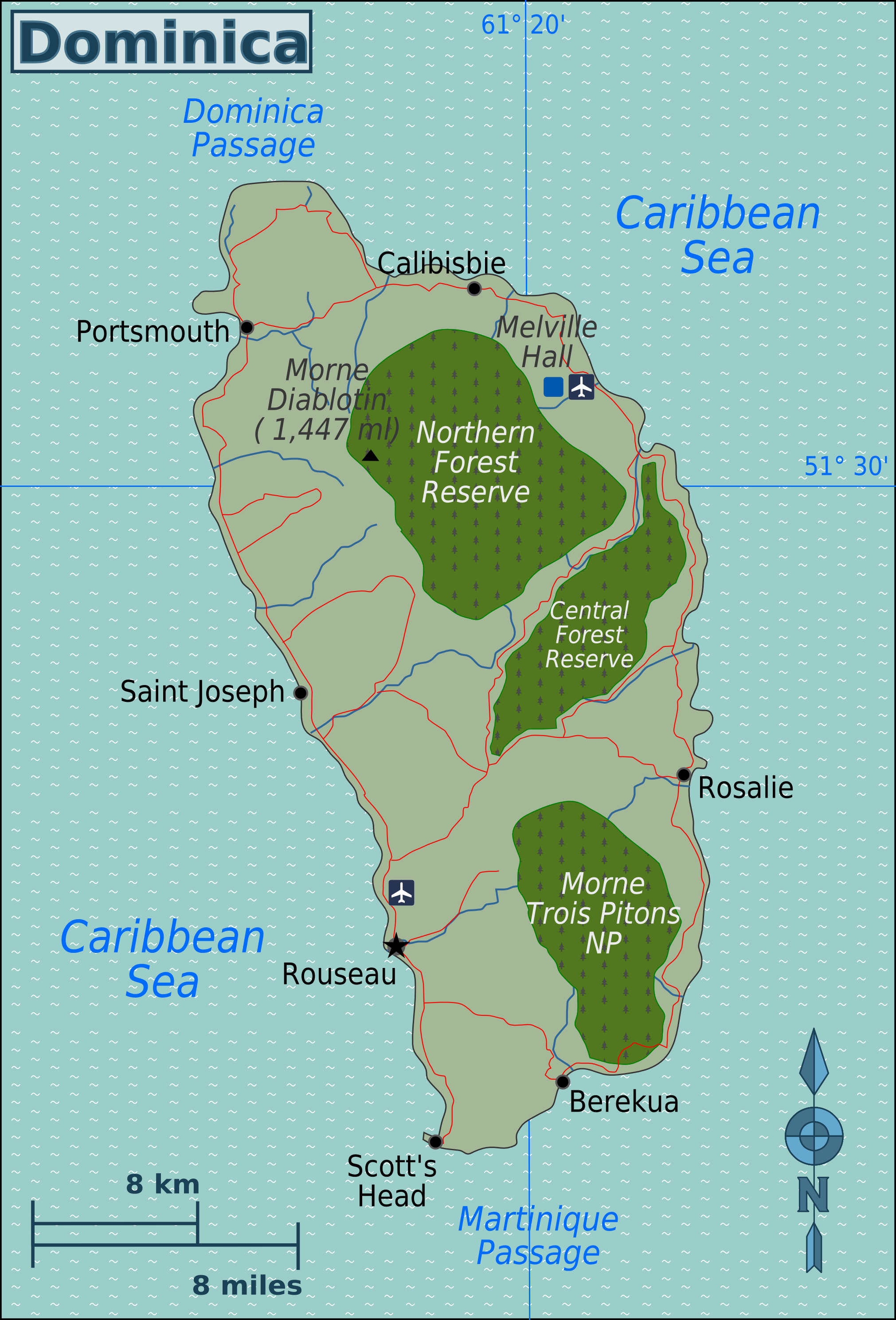 Map of Dominica (Overview Map) : Worldofmaps.net - online Maps and Domenica Map on