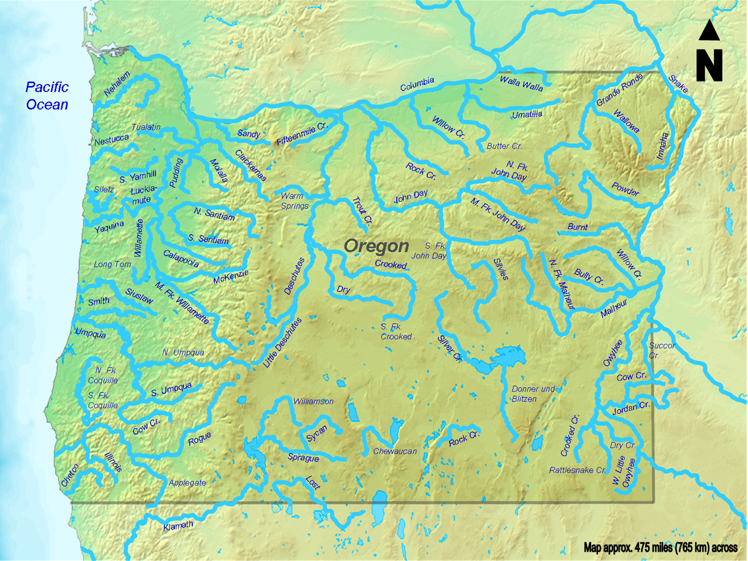 Map of Oregon (Map Rivers) : Worldofmaps.net - online Maps and ...