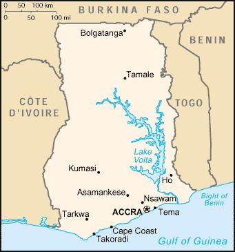 Map of Ghana (Small Overview Map) : Weltkarte.com - Karten ...
