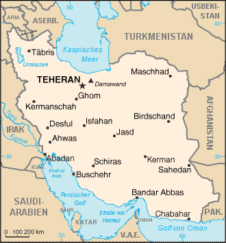 Map of Iran (Small Overview Map) : Worldofmaps.net - online Maps and ...