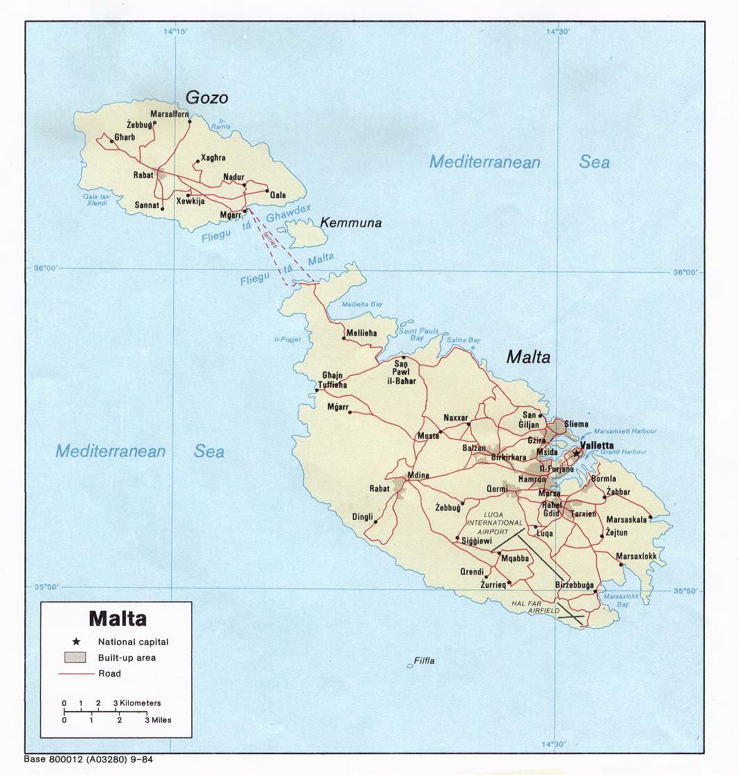 Map of Malta (Political Map) : Weltkarte.com - Karten und Stadtpläne ...