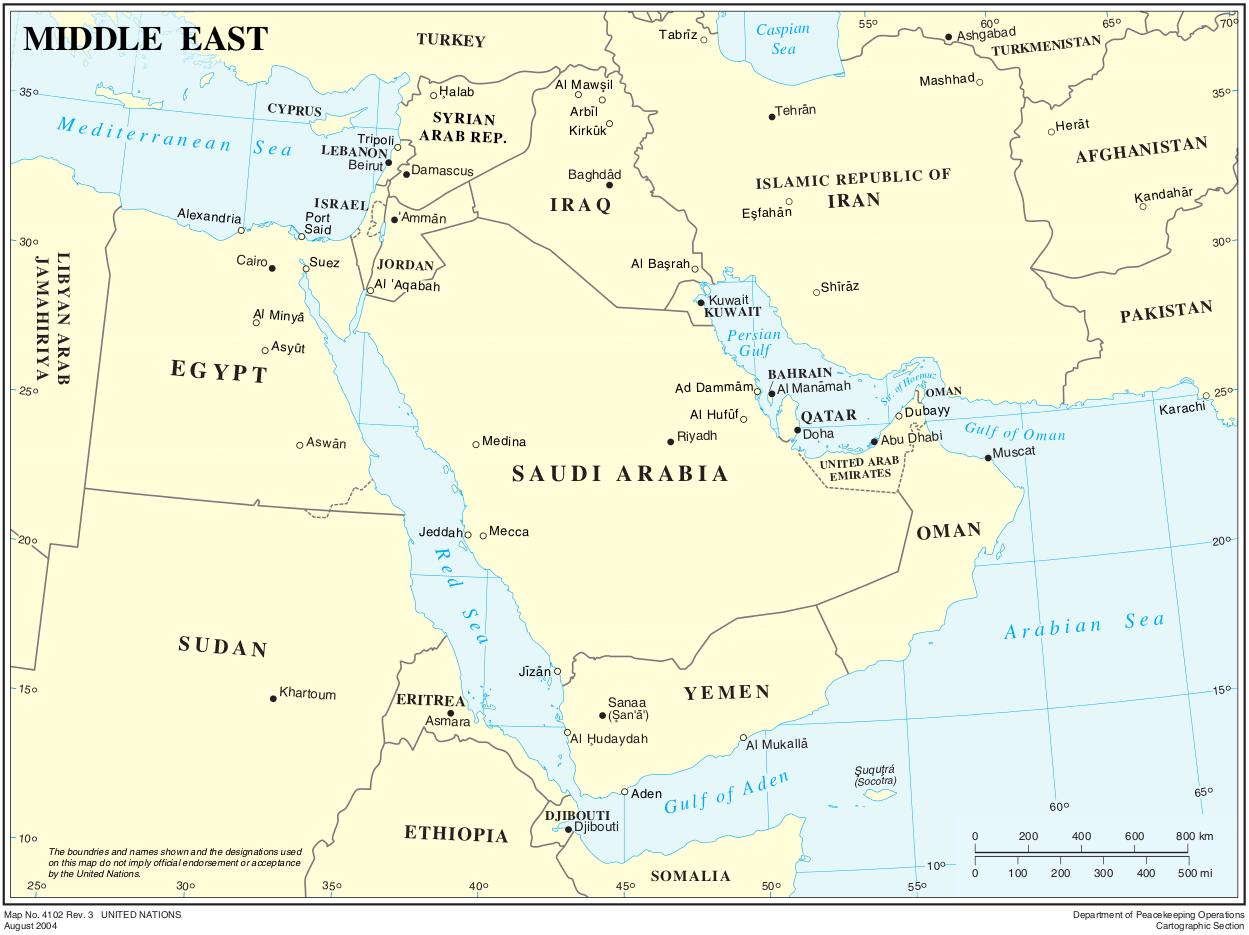 Map of Middle East (Political Map) : Weltkarte.com - Karten und ...
