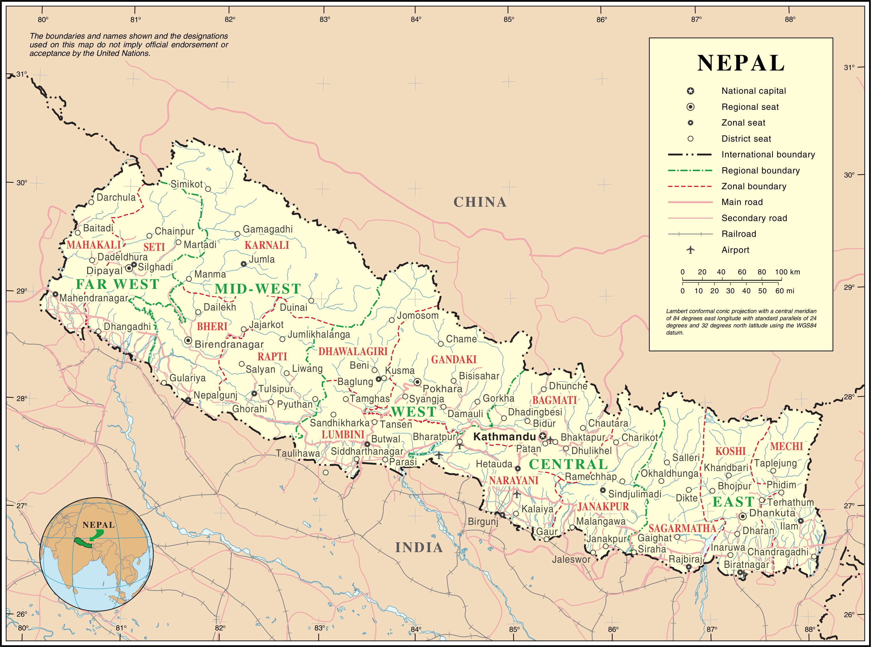 Map of Nepal Overview Map online Maps and Travel Inform