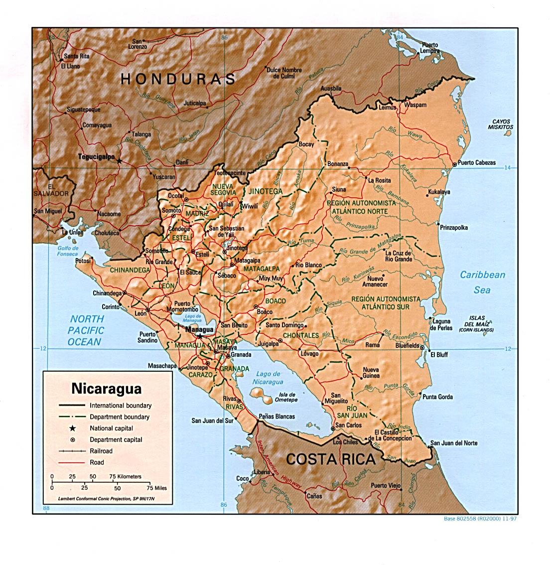 Map of Nicaragua (Relief Map) : Weltkarte.com - Karten und ...