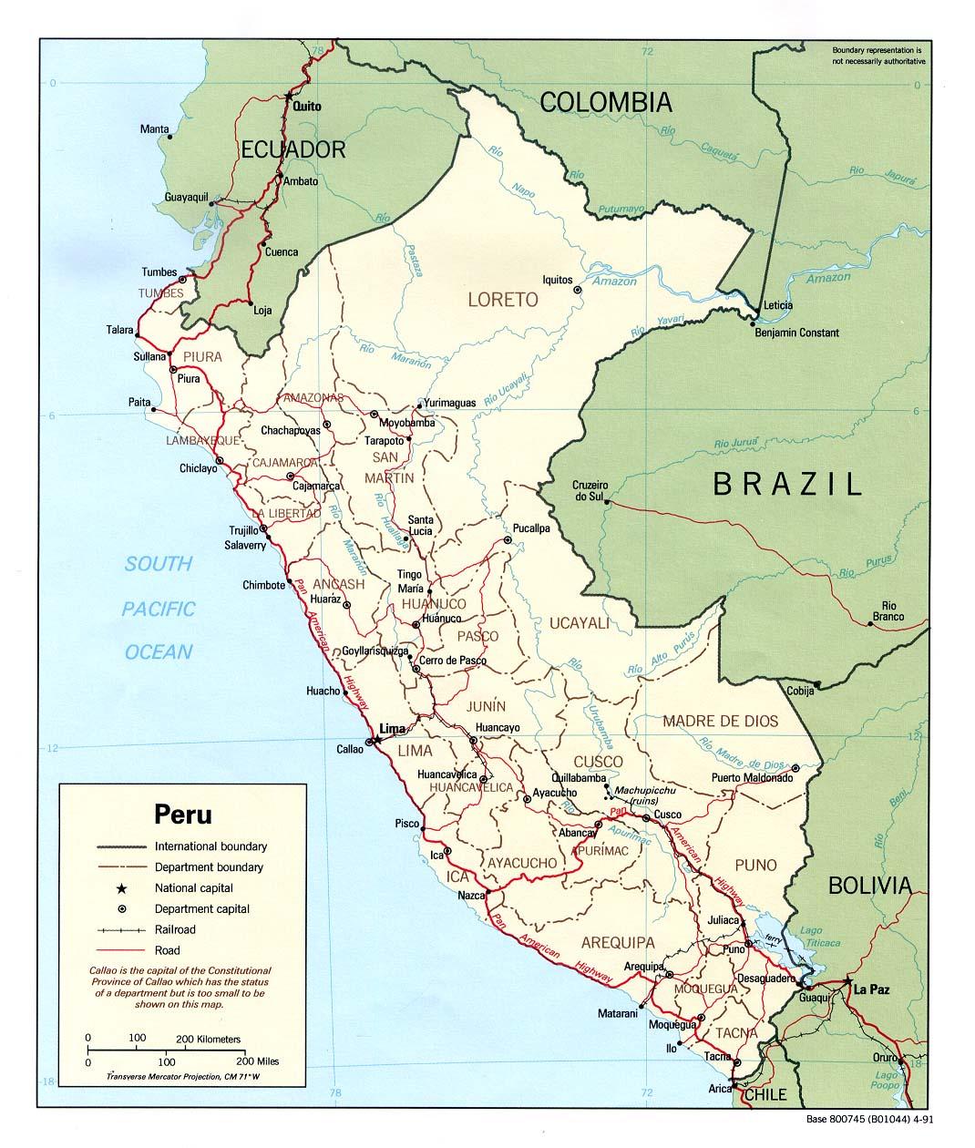 Map of Peru (Political Map) : Weltkarte.com - Karten und ...