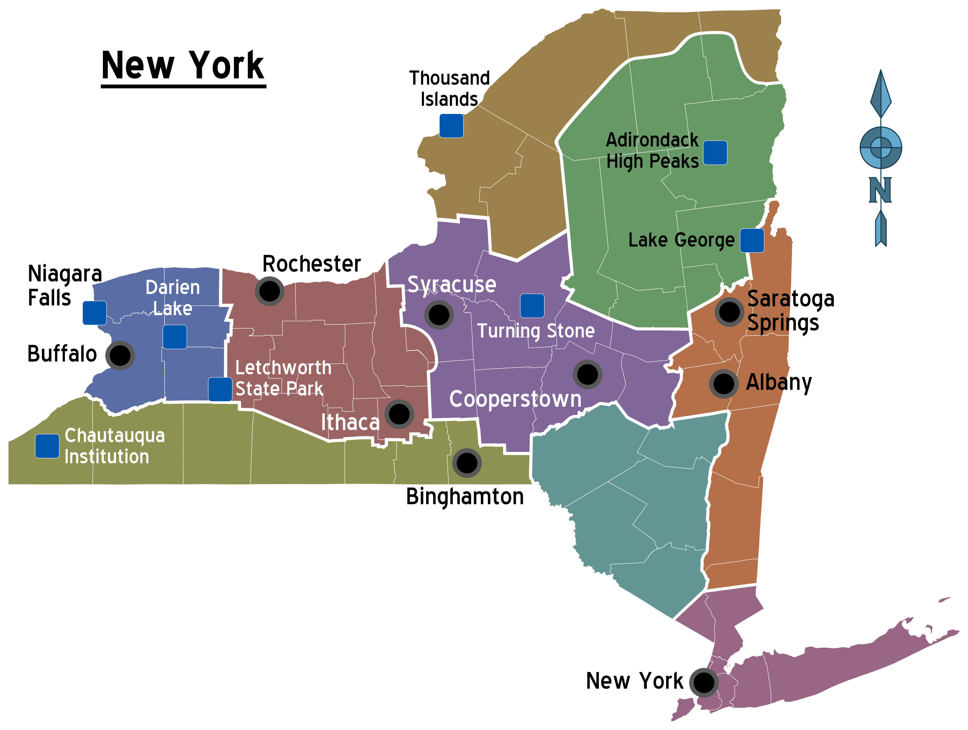 Map of New York (Overview Map/Regions) : Weltkarte.com - Karten und ...