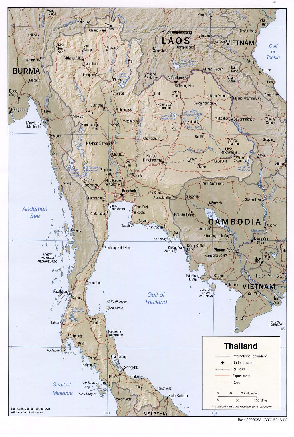 Map Of Thailand Relief Map Worldofmaps Net Online Maps And