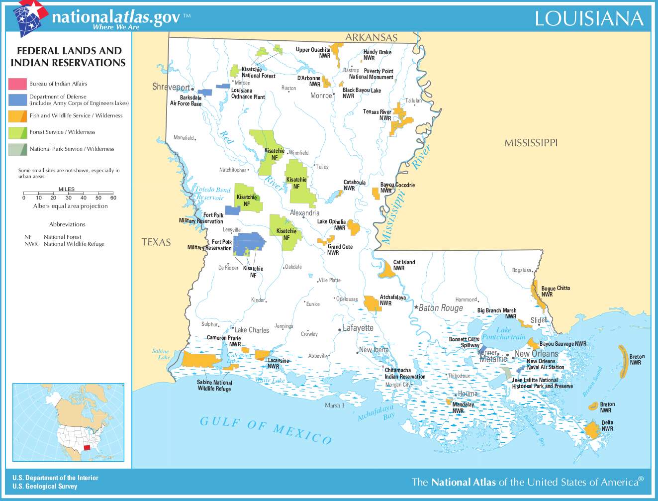 Map of Louisiana (Map Federal Lands and Indian Reservations ...