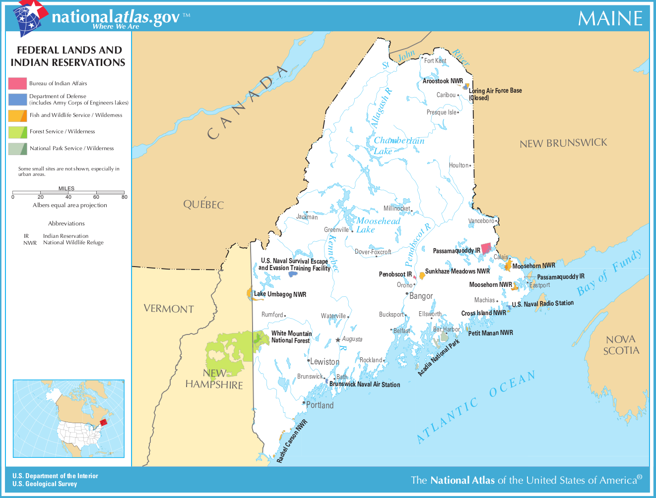 Map of Maine (Map Federal Lands and Indian Reservations ...