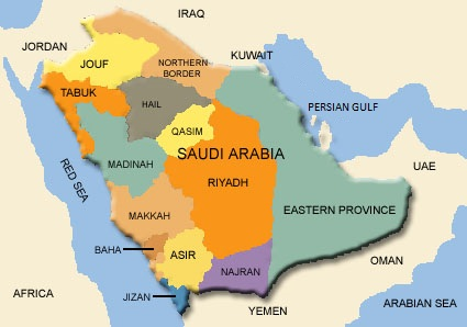 Map of Saudi Arabia (Administrative divisions) : Weltkarte.com ...