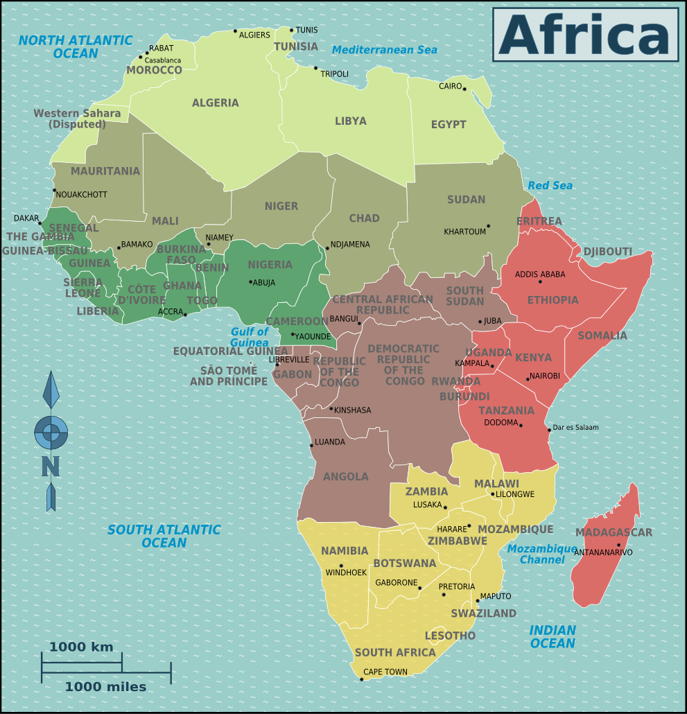 Map of Africa (Poltical Map/Regions) : Worldofmaps.net - online Maps ...
