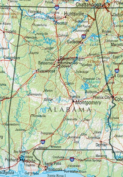 Map of Alabama : Worldofmaps.net - online Maps and Travel Information