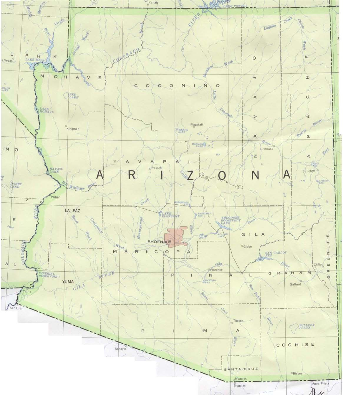 Map of Arizona (Overview Map) : Worldofmaps.net - online Maps and ...