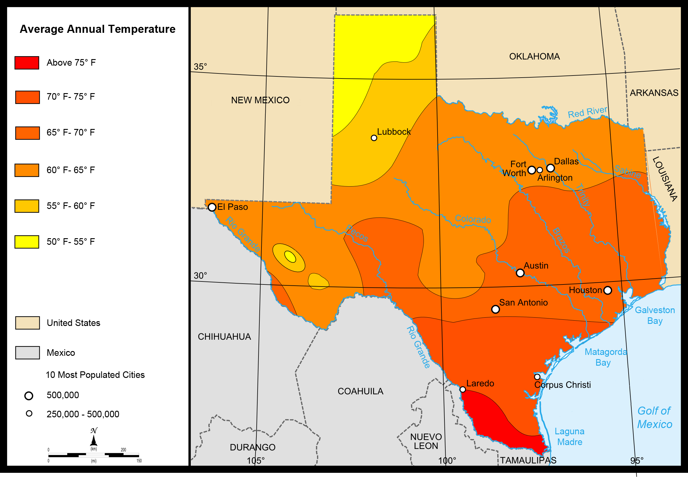 Map of Texas (Map Average Temperatures) : Weltkarte.com - Karten und ...