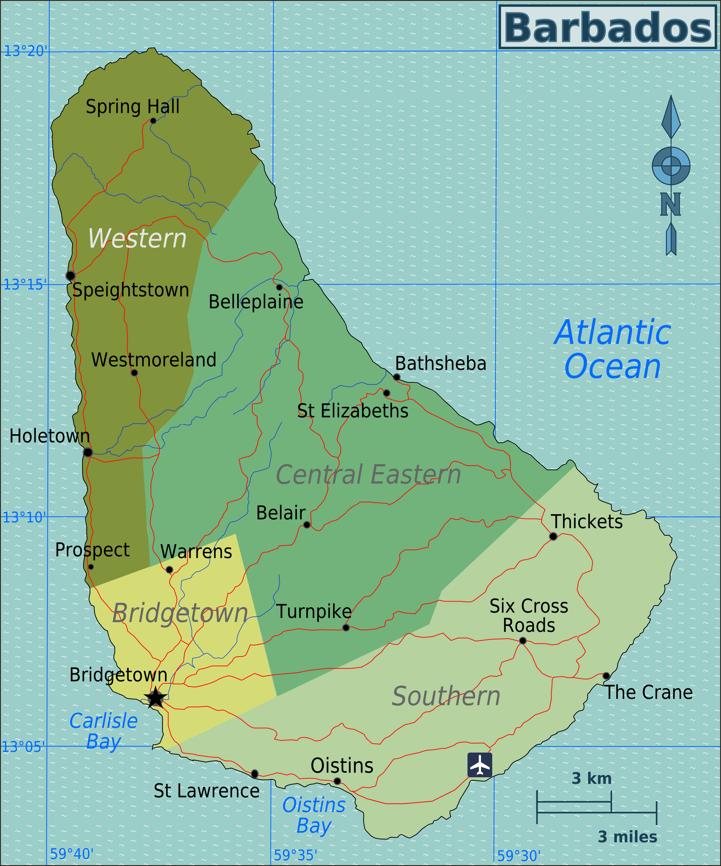 Map of Barbados (Overview Map/Regions) : Worldofmaps.net ...