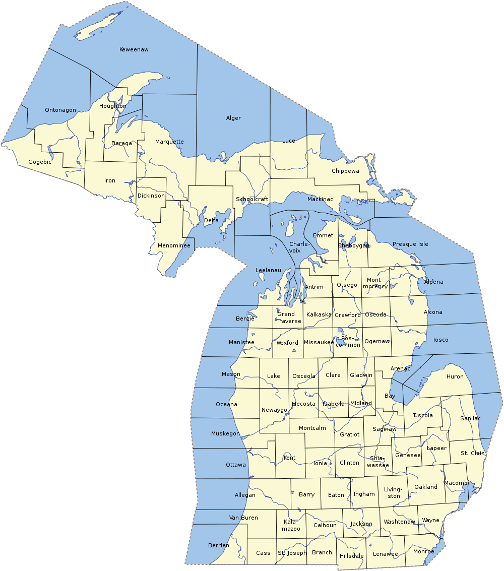 Map Of Michigan Map Counties Worldofmaps Net Online