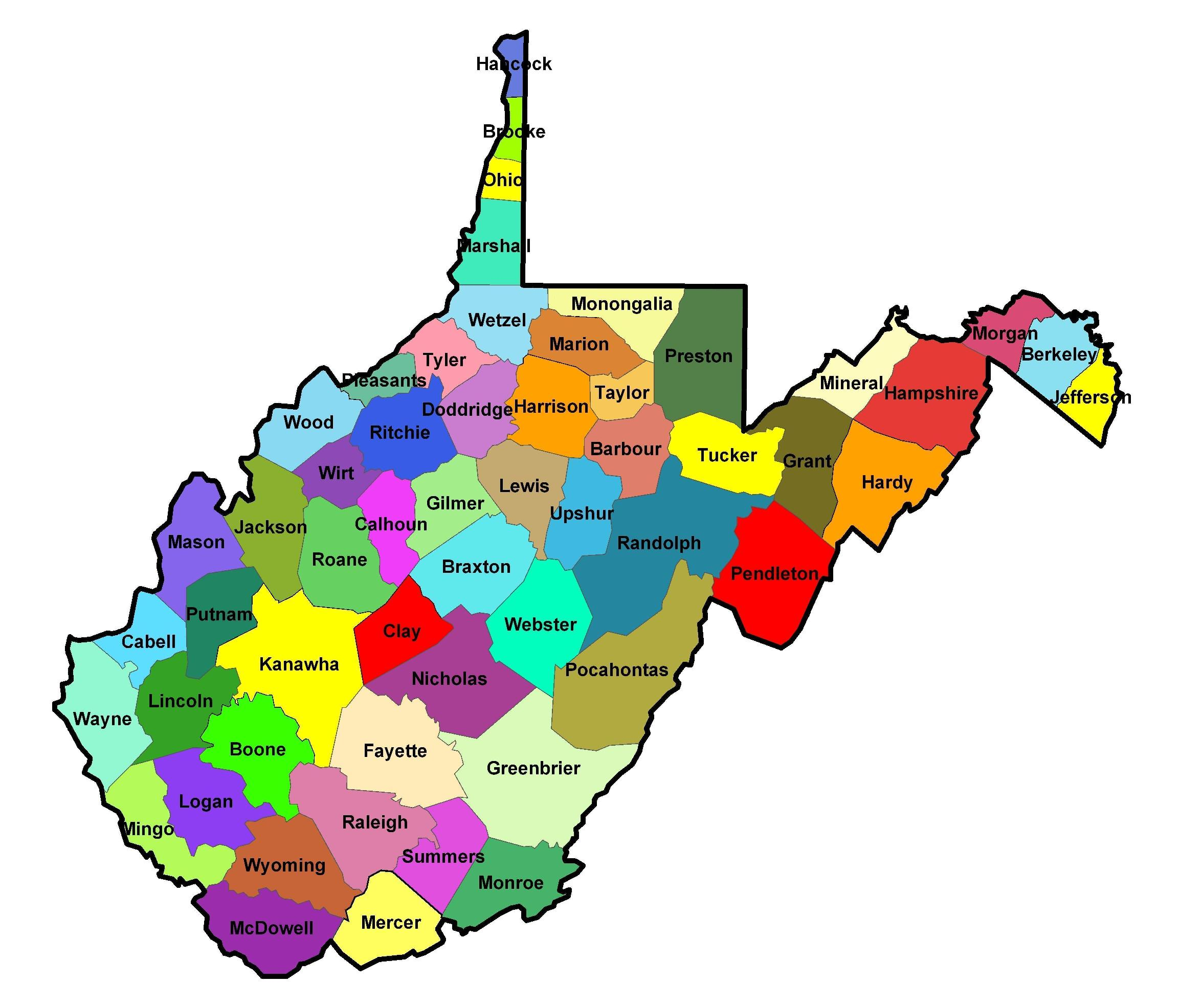 Map of West Virginia (Map Counties) : Weltkarte.com - Karten ...