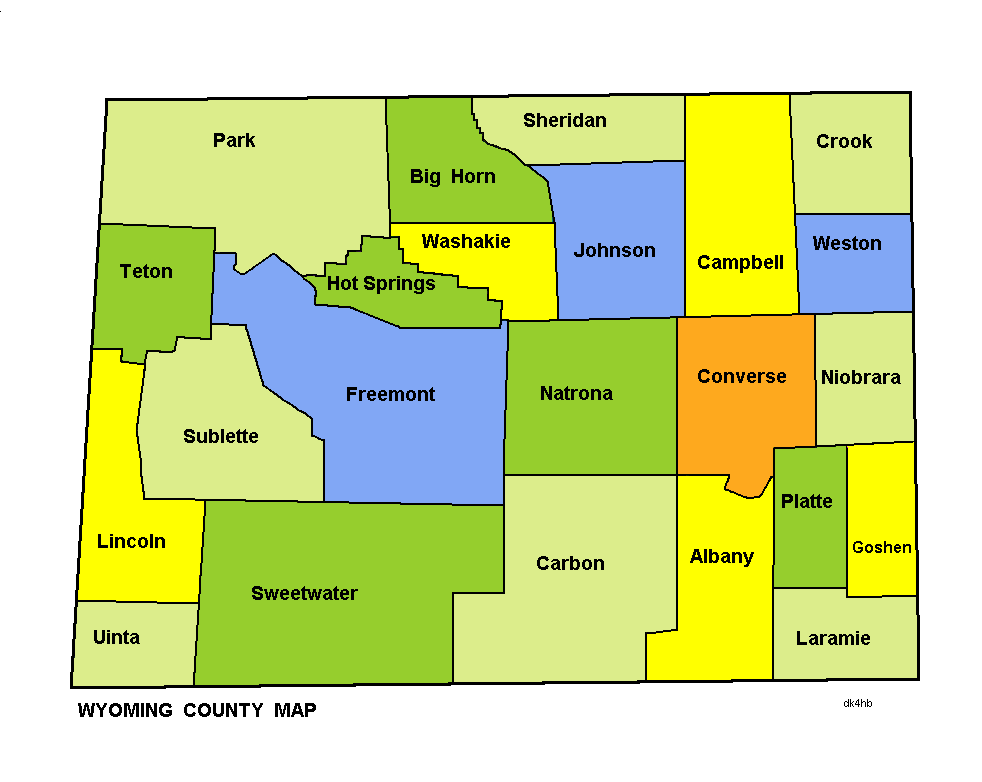 Map of Wyoming (Map Counties) : Worldofmaps.net - online Maps and ...