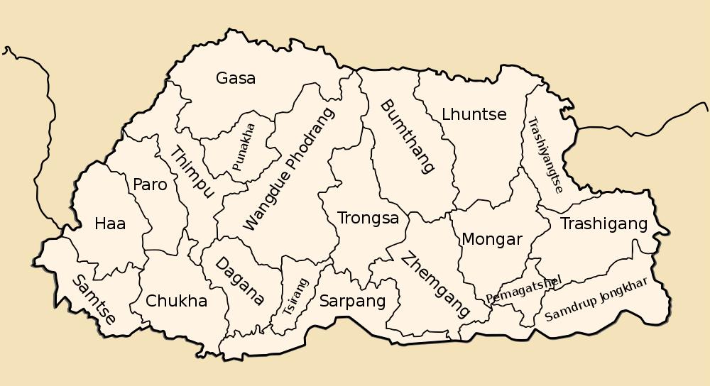 Map of Bhutan (Map Districts) : Weltkarte.com - Karten und ... Map Of Bhutan on