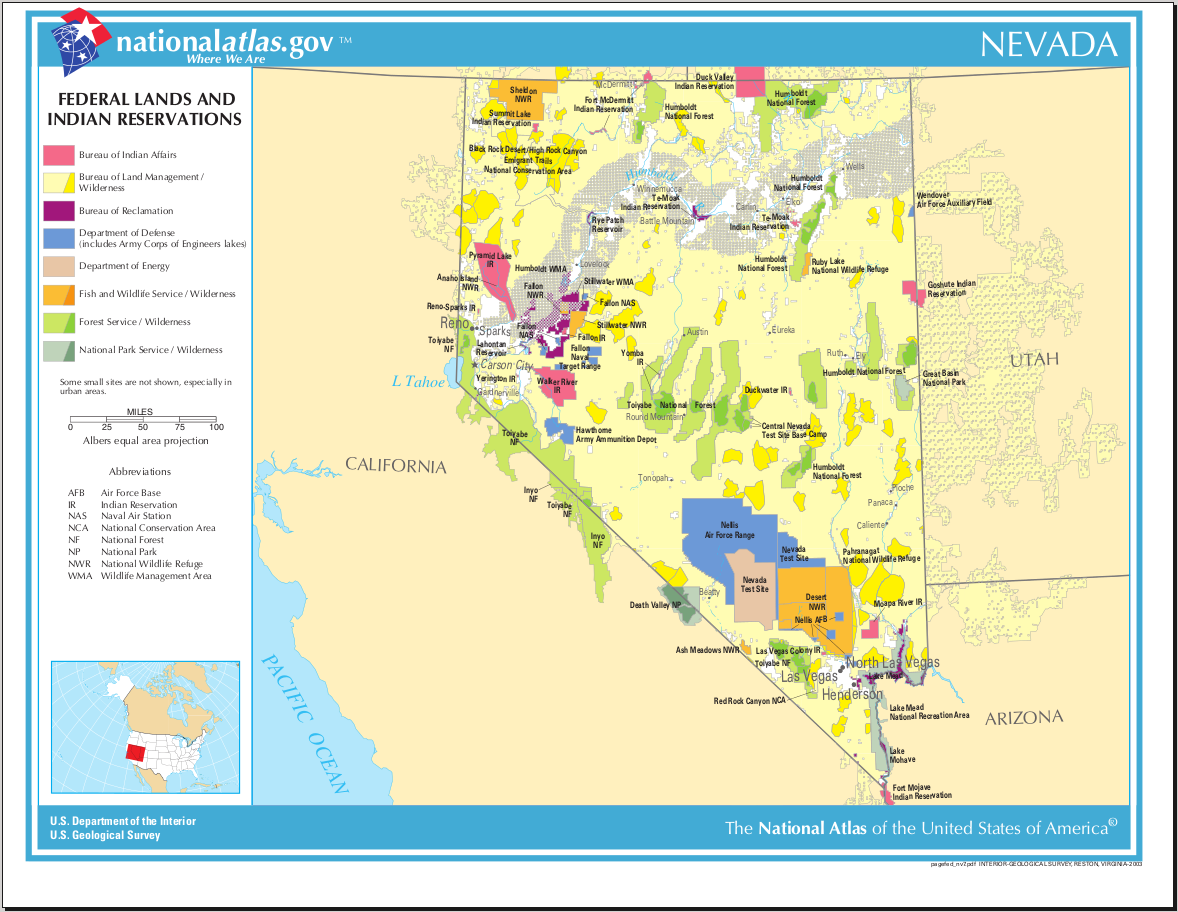 Map of Nevada (Map Federal Land and Indian Reservations ...