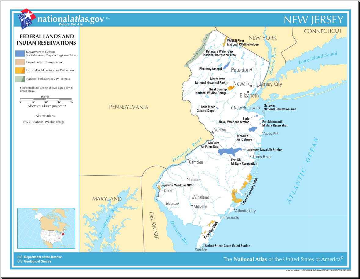 Map of New Jersey (Map Federal Lands and Indian Reservations ...